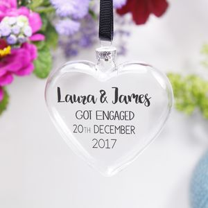 Personalised 'Engagement' Flat Heart Bauble