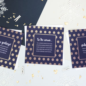 Funny Gold Foil Christmas Card Pack