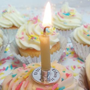 Silver Round Birthday Candle Holder - children's parties