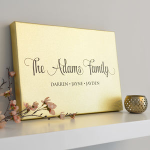 Personalised Metallic Gold Family Canvas - canvas prints & art