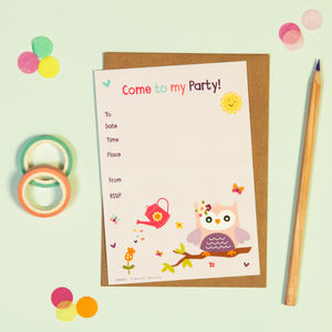 Cute Owl Party Invitations