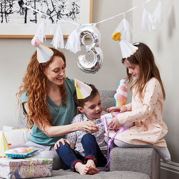 Monochrome Party Hat With Number Balloon Garland