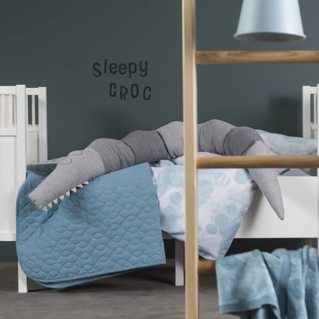 Knitted Grey Croc Sleepy Cushion