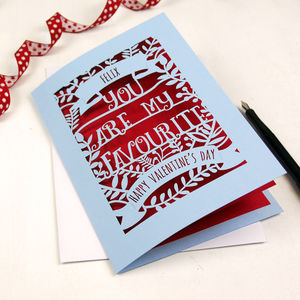 Personalised 'You are my Favourite' Papercut Card