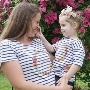 Personalised Summer Floral Breton Tshirt Set - new in fashion