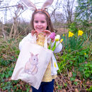 Personalised Watercolour Bunny Easter Hunt Bag