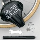 'Bike First Beer Later' Waterproof Bike Seat Cover
