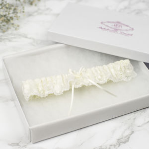 'Jasmine' Elasticated Soft Lace Bridal Garter - lingerie & nightwear