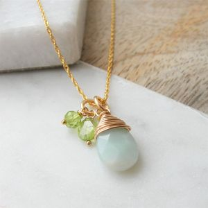 Amazonite And Peridot Gold Necklace - birthstone jewellery gifts
