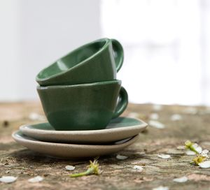 Artisan Emerald Green Or Pink Espresso Cups - gifts for fathers