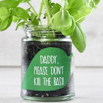 Personalised 'Don't Kill Me' Basil Grow Jars