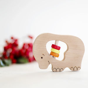 Organic Baby Elephant Rattle - stocking fillers