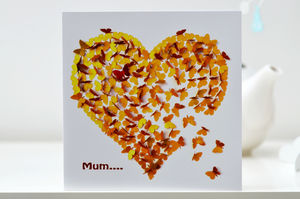 Mum Or Mam Heart Of Gold Butterfly Card