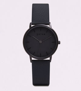 Black And All Black Vegan Leather Watch - watches