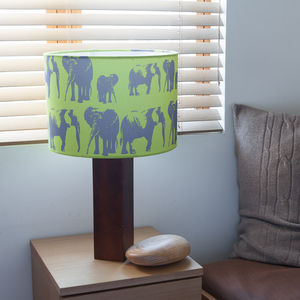 Elephant Family Handmade Green Lampshade