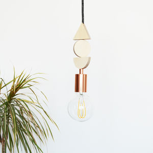 Wood And Copper Shapes Pendant Light