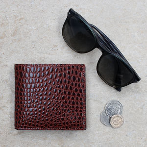 Mens Bifold Wallet With Coin Section.'Ticciano Croco'