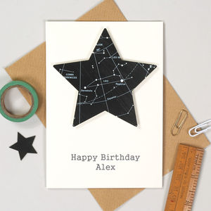 Personalised Space And Stars Birthday Card
