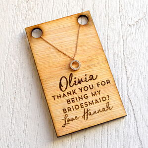 Bridesmaid Necklace And Wooden Card
