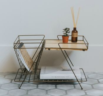 Brass And Wood Retro Magazine Rack