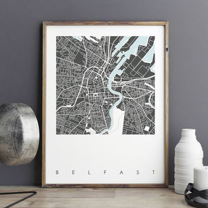 Belfast Map Art Prints Limited Editions