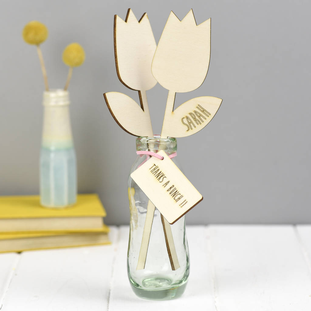 Personalised Wooden Flowers Thank You Gift
