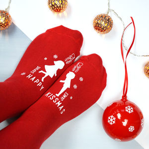 Personalised Happy Kissmas Bauble Socks