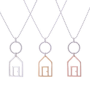 Silver Beach Hut Pendant Necklace