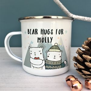 Children's Christmas Bear Hugs Enamel Mug