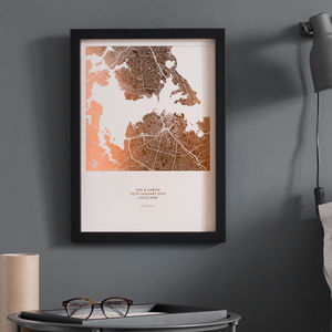 Metallic Map Print - 30th birthday gifts