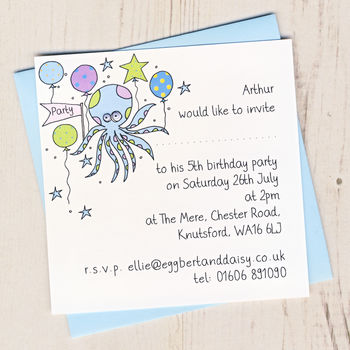 Personalised Octopus Party Invitation Pack
