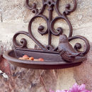 Vintage Cast Iron Scrolled Garden Bird Feeder