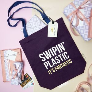 Tote Bag With Slogan Print 'Swipin' Plastic' - womens