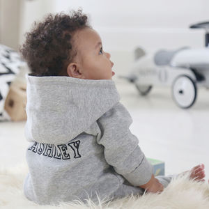 Personalised Hooded Jersey Onesie Grey - new baby gifts