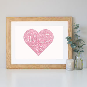 Personalised Watercolour 50th Birthday Gift - typography