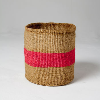 Large Colour Pop Woven Basket Hot Pink
