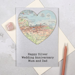Personalised Map Heart Silver Wedding Anniversary Card