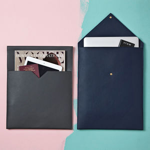 Personalised Leather Laptop And Document Sleeve For Him