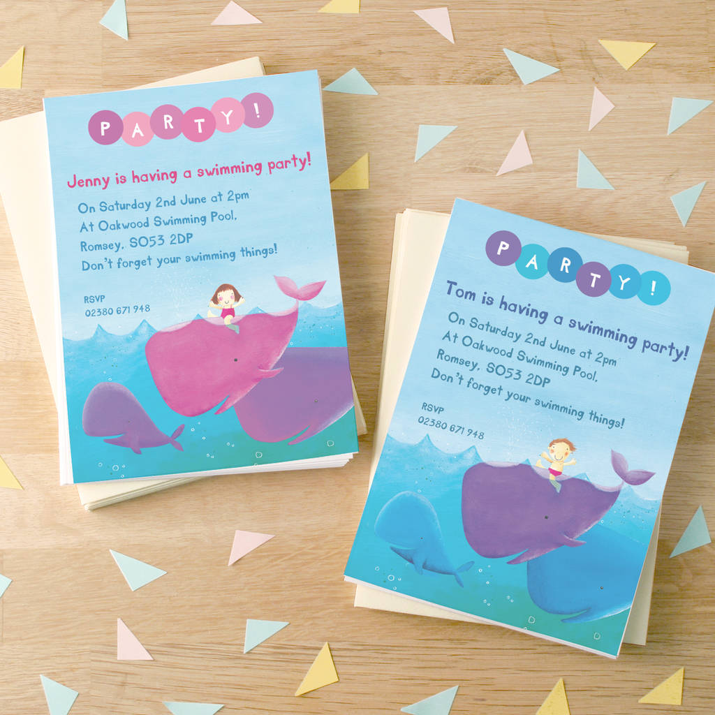 personalised swimming party invitations by made by ellis