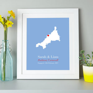 Personalised Treasured Location County Print - maps & locations