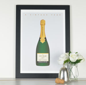'A Vintage Year' Personalised Champagne Print - for him