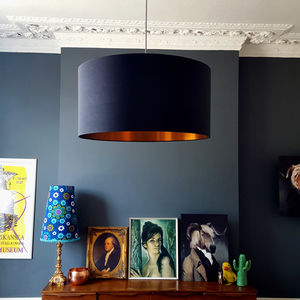 Inky Black Silk Shade With Gold Or Copper Lining - dining room