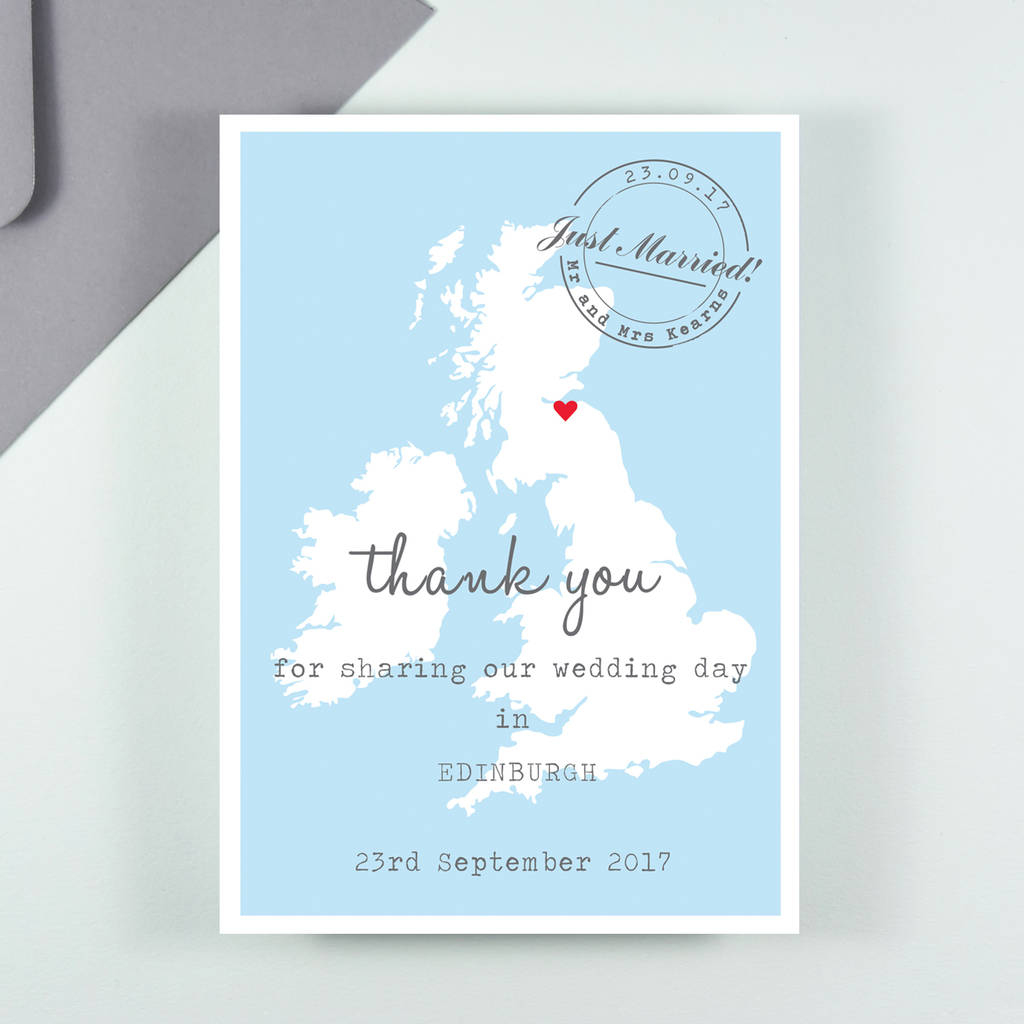 map thank you postcard by paper and inc