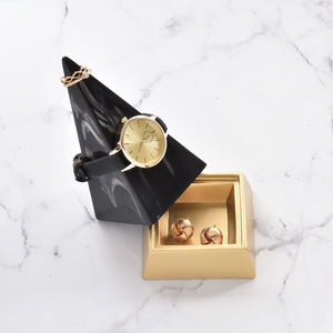 Gold And Black Marble Pyramid Jewellery Peak Large - gifts for teenagers