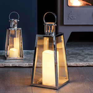 Set Of Two Stainless Steel Trapeze Lanterns