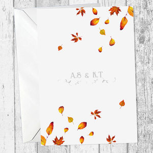 Personalised Autumnal Leaves Wedding Invitation - invitations