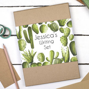 Personalised Cactus Writing Set - letter writing accessories