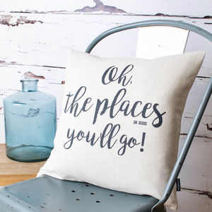 'Oh, The Places You'll Go!' Dr Seuss Cushion Cover - decorative accessories