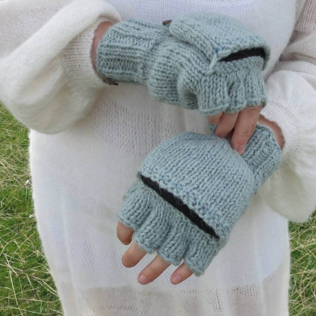 6a748d68558 Fair Trade Knit Wool Fleece Mitten Fingerless Gloves