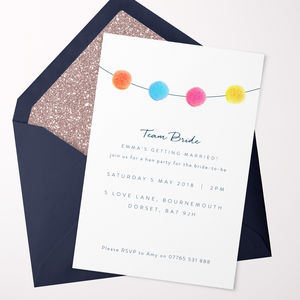 Pom Pom Hen Party Invitations